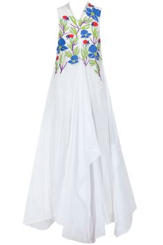 White bird embroiderd floor length draped dress available only at Pernia's Pop-Up Shop.