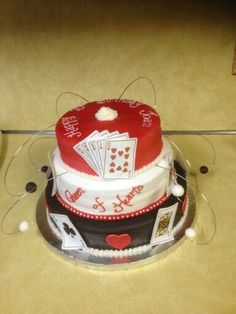 75th birthday party ideas for men | 75th birthday cake - card party theme