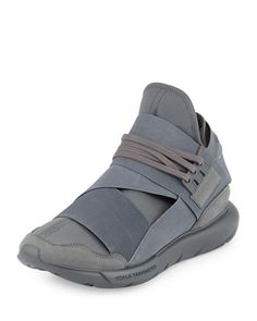 Qasa+Men\'s+High-Top+Trainer+Sneaker,+Gray+by+Y-3+at+Neiman+Marcus.