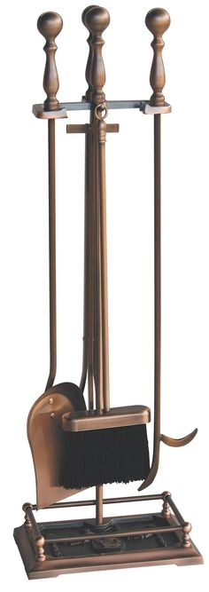5 Pc Satin Copper Fireset - This classic UniFlame(R) 5-piece fireplace tool set, by Blue Rhino(R), has all the tools you need to tend to a roaring fire. This set includes a poker, brush, log lifter and shovel. Its popular copper finish will accent a variety of decor. Tools feature easy to grip handles that are both classic and functional. This tool set features an embossed base with a Victorian dancing lady design. Made from steel Copper finish Easy to grip handles Includes shovel, brush…