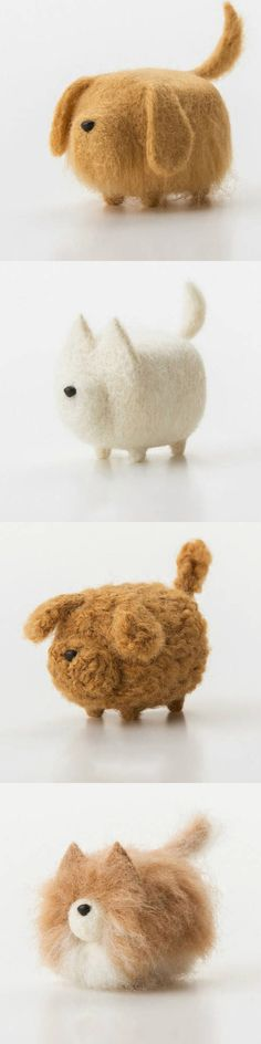 More minimalist dogs! http://www.feltify.com/products/handmade-felted-felting-project-cute-animal-dogs-puppy-felted-wool-doll#