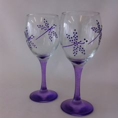 Hand Painted Wine Glasses depicting a Purple Dragonfly. by TheGlasscraftstudio on Etsy https://www.etsy.com/listing/222095263/hand-painted-wine-glasses-depicting-a
