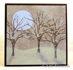 """Adding snow & shadows to a stamped image (Stamp trees; using circle mask in sky & hand cut ground mask on bottom of card,  hold in place & sponge in sky area; use tiny brush to apply pure white WC paint to trees and to create falling snow; use large brush & paint in ground area around the trees with white paint; allow to dry; use mini applicator to lightly apply ink to create the light tree shadows"""")"""