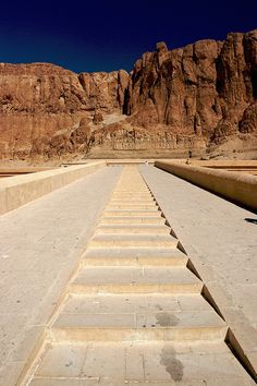 The stairs leading to Hatshepsut's temple at Deir el-Bahari. #EGYPT