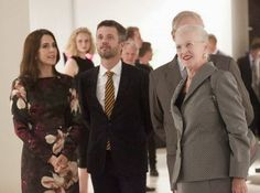 """Queen  Margrethe and Prince  Henrik attended the opening of the exhibition of their own works """"Pas De Deux"""" on AroS in Aarhus. Crown Prince Frederik and  Crown Princess Mary accompanied them ."""