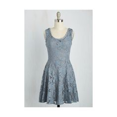 Boho Short Length Sleeveless A-line Care for a Cuppa? Dress featuring polyvore, women's fashion, clothing, dresses, apparel, blue, fashion dress, a line dress, floral dress, short dresses, sleeveless dress and scalloped lace dress