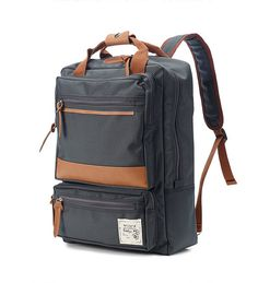 Two front Zipper pocket Backpack Charcoal grey by BagDoRi on Etsy, $75.00
