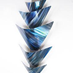 """L10P Aurora Torchiere Series - Blue"" 28""x12"" Blue Aluminum Modern Abstract Metal Wall Art Sculpture Lamp LED Sconce"