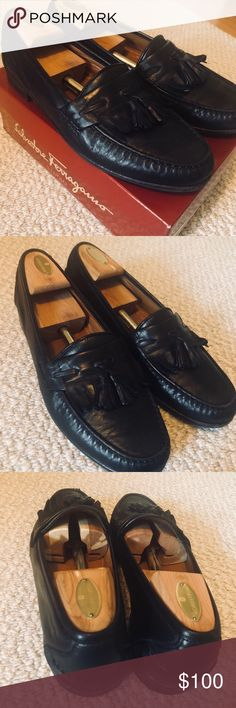 Salvatore Ferragamo Osvaldo Black Leather Loafers Mega big discount on this one.  These go for hundreds normally.   They also are tassel kilties (couldn't fit it in the title).  Great condition (as seen above) and comes with the box. Salvatore Ferragamo Shoes Loafers & Slip-Ons