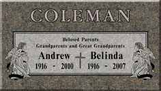 Two kneeling angels frame the double line border of this beautiful headstone. Replace the cross emblem in the center with a photo tile insert of you and ...