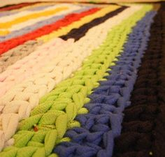 Not my photo, but shapes knitted out of strips of old t-shirt make very popular and pretty rugs.