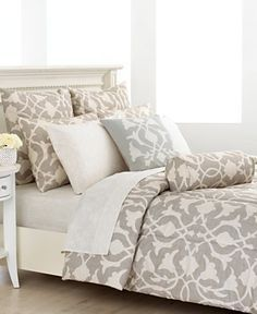 Image result for bed bath and beyond neutral duvet with blue accents
