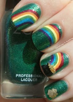 Rainbow and Pot of Gold: The rainbow stretches over a few nails, and the gold is made with beads. Love the attention to detail.