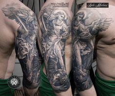 Archangel Michael Tattoo, St Michael Tattoo, Angel Sleeve Tattoo, Arm Sleeve Tattoos, Tattoo Arm, Tribal Arm Tattoos, Arm Tattoos For Guys, Forarm Tattoos, Tatoos
