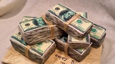 Money cake / money stacks /money stacks cake / hundred dollar bills cake/ money birthday cake #TheCharmingGourmet