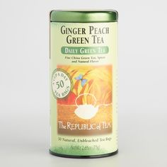 The Republic of Tea Ginger Peach Tea, World Market, Revolution Tea Ginger Peach Black Tea, Republic of Tea Ginger Peach Green . China Green Tea, Peach Green Tea, Ginger Peach, Importance Of Food, Tea Companies, Tea Tins, Fine Wine, The Republic, Natural Flavors