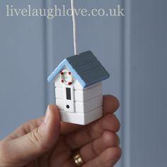 Beach Hut Light Pull-White/ look up miniatures for beach /coastal/nautical items