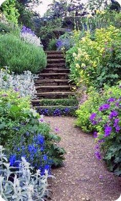 Benington Lordship Garden ~ Hertfordshire - herbaceous borders and a rockery - via Bev Murphy Rockery Garden, Garden Landscaping, Back Gardens, Outdoor Gardens, Garden Steps, Garden Path, Herbaceous Border, Garden Borders, Garden Spaces