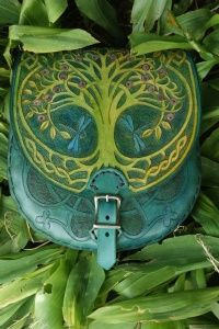 blue sporran sized belt pouch with detachable strap and Tree Of Life and knotwork design    Sky Raven Wolf