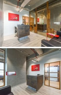 Stucco Finishes, Asian Paints, Earthy Color Palette, Studios Architecture, Painting Concrete, Glass Partition, Office Environment, Wooden Flooring