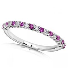 Allurez Round Diamond & Pink Sapphire Band in 14kt White Gold (0.25ct) ($400) ❤ liked on Polyvore