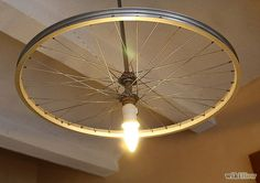 Bike wheel chandelier! #DIY #home #decor #bikes