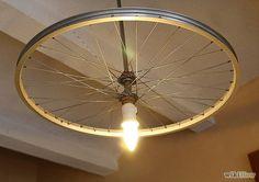 Bike wheel chandelier! #DIY #home #decor #bikes