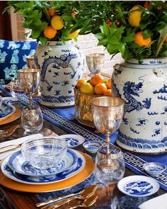 """SECRETS OF A HOSTESS on Instagram: """"Blue and White Tablescape with the addition of these beautiful citrus fruits as the centerpiece, by @parkerkennedyliving , tableware by…"""""""