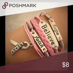Pink breast cancer awareness bracelet No trades or pp, charms r made of zinc alloy This is all one piece it connects with a clasp and chain, so it is very adjustable. No custom orders sorry. Jewelry Bracelets