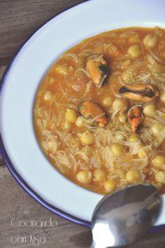 Cocinando con Kisa: Garbanzos con fideos y mejillones { Thermomix }