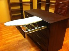 closet island and ironing board