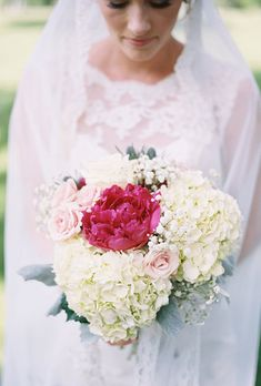 Bouquet With Pink and White Hydrangeas, Peonies, and Roses | Brides.com