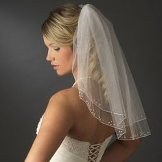 Two layer Shoulder Length Wedding Veil with Sequins and Pearls.