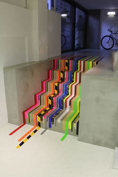 washi tape stairs, such a clever way to add color and design. Tape Art, Tape Installation, Ideias Diy, Home And Deco, Washi Tape, Masking Tape, Duct Tape, Street Art, Paris Street