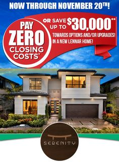 Up to 30k towards closing cost at Serenity!! Take advantage of this opportunity!! http://bit.ly/2fb0v6R
