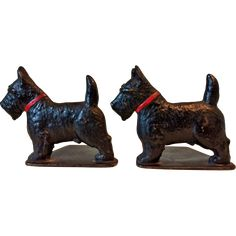 1930s Cast Iron Scotty Dog Bookends  Spencer Foundry Connecticut USA