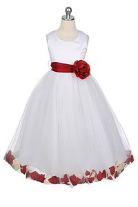 Flower Girl Dress Style 152-Choice of White or Ivory Dress with Red Sash and Petals