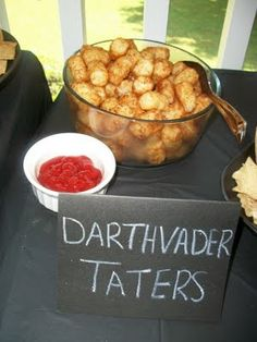 Full Star Wars Pun Food Table: Darthvader Taters, Sweet & Salty Sabers, Yodamole, etc.  Yes, they are all easy, but I will totally forget since I'm in the Graduation Party mode.