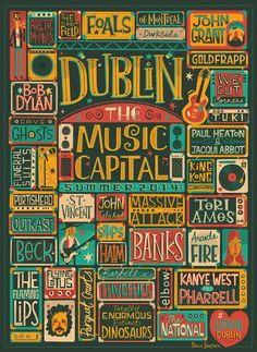 Gorgeous poster design combines characters and typography This live music poster for VisitDublin.ie features colourful characters and addictive type design. Musikfestival Poster, City Poster, Rock Posters, Concert Posters, Poster Design Inspiration, Typography Inspiration, Poster Ideas, Design Fonte, Image Paris