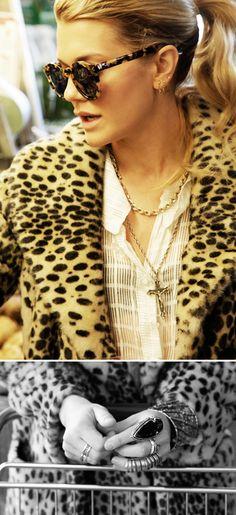 leopard on leopard. handful of rings. triple hoops.