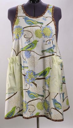 Plus Size Apron in  Bluebirds by SusannahsKitchen on Etsy, $39.00