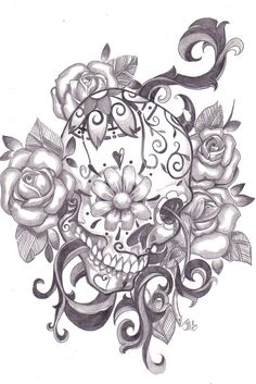 Sugar skull.. would be an amazing colorful tattoo....
