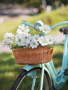 White flowers on the front basket of a aqua bike