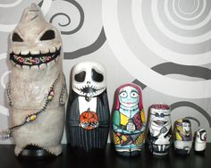 ©Peggy Prouty ©PumpkinProuty Nightmare Before Christmas Nesting Doll. Custom Painted and Partial Sculpting.