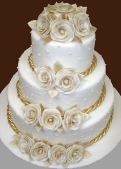 White and Gold Wedding Cakes | white-and-gold-wedding-cake-glittering-gold-pinterest.jpg
