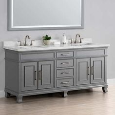 Double sink bathroom vanity incorporates two sinks and a counter space longer. The counter space and additional sink Craftsman Bathroom, Bathroom Vanity Lighting, Bathroom Styling, Traditional Bathroom, Double Sink Vanity, Vanity, Vanity Sink, Bathrooms Remodel, Bathroom Design