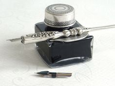Dip Pens | Ornate Pewter Dip Pen and Ink Set