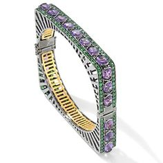 "Yours by Loren 2-Tone 26.08ct Amethyst and Tsavorite Square 7-1/2"" Bangle Bracelet at HSN.com."
