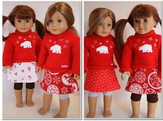 "Free Doll Clothes Pattern to make an adorable reversible wrap skirt for you American Girl or 18"" doll"