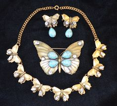 Joseff Hollywood Jewelled Butterflies...Earrings, Brooch and Necklace